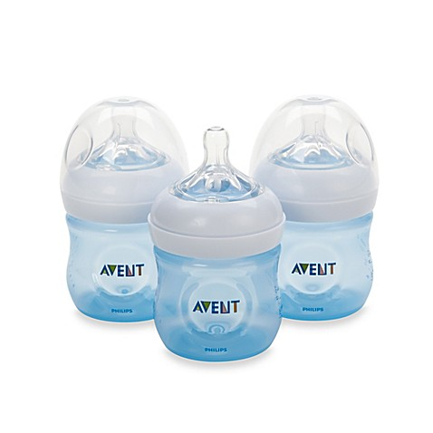 Philips Avent Natural 4 Ounce Bottle In Blue 3 Pack
