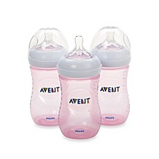 image of Phillips Avent Natural 3-Pack 9 oz. Bottles in Pink