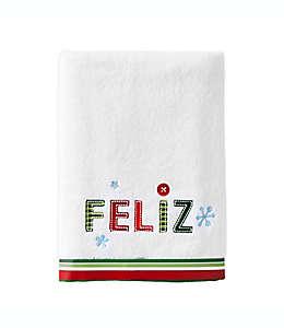 Toalla de medio baño Feliz Navidad en blanco
