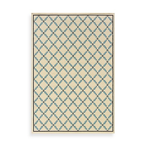 Oriental Weavers Caspian Ivory/Blue Lattice 8-Foot 6-Inch x 13-Inch Indoor/Outdoor Rug
