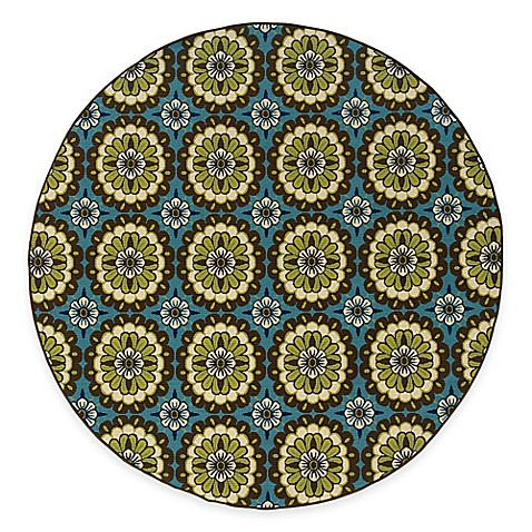 Oriental Weavers Caspian Brown/Blue Medallion 7-Foot 10-Inch Round Indoor/Outdoor Rug