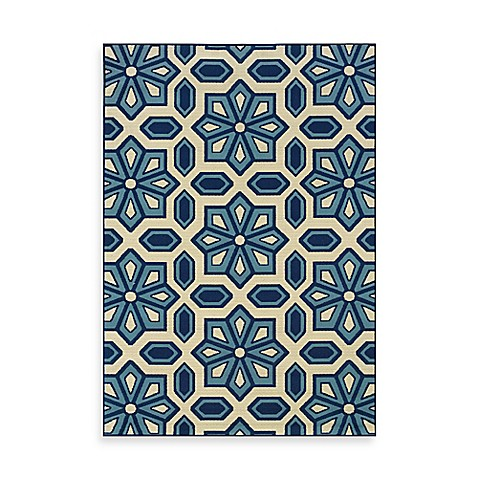 Oriental Weavers Caspian Crystal 8-Foot 6-Inch x 13-Inch Indoor/Outdoor Rug in Blue