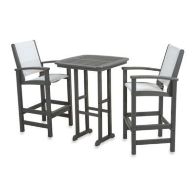 image of POLYWOOD® Coastal 3-Piece Outdoor Bar Set