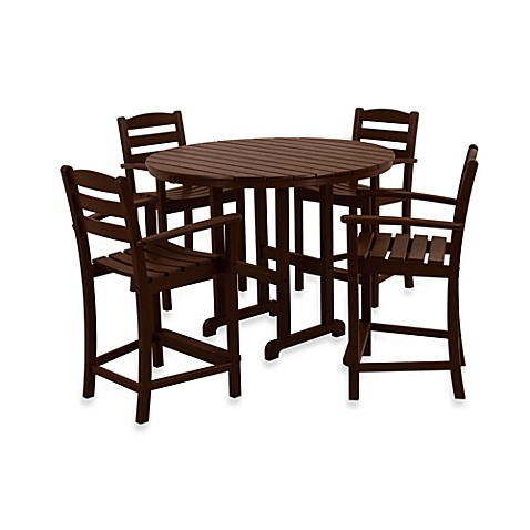 polywood la casa 5 piece outdoor counter height table set bed bath beyond. Black Bedroom Furniture Sets. Home Design Ideas