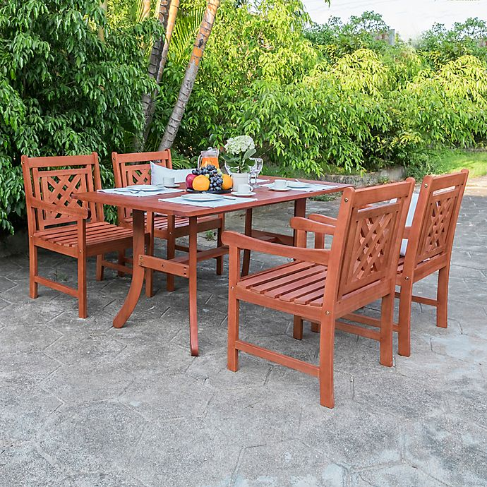 Vifah Malibu 5 Piece Outdoor Dining Set In Cherry Bed Bath And Beyond Canada