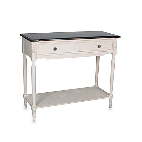 safavieh jenel white console table with shelf bed bath. Black Bedroom Furniture Sets. Home Design Ideas