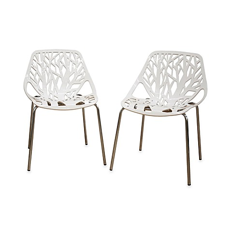 Plastic dining chair in white set of 2 bed bath beyond for White plastic dining chair
