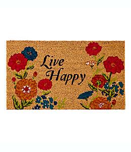 Tapete para entrada Evergreen con frase Live Happy