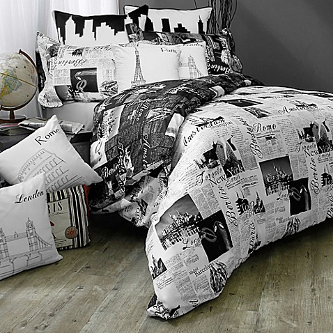 Passport London and Paris Reversible Duvet Cover Set in Black White. Passport London and Paris Reversible Duvet Cover Set in Black