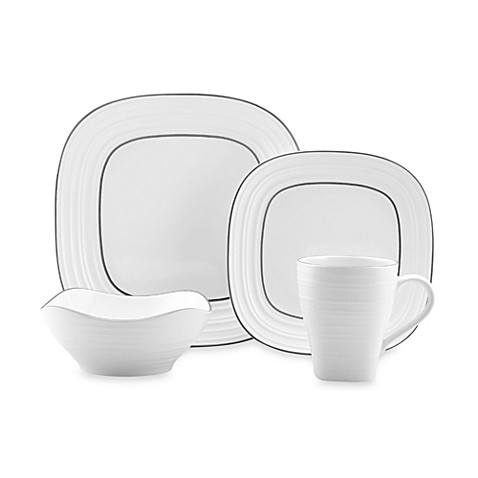 Mikasa® Swirl Square Banded White 4-Piece Place Setting