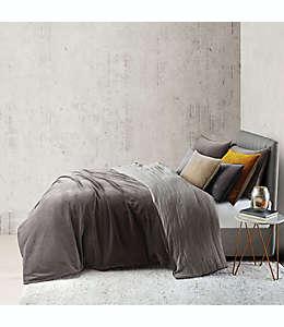 Set de funda para edredón individual O&O by Olivia & Oliver™ doble vista aterciopelado y lino en carbón, 2 piezas