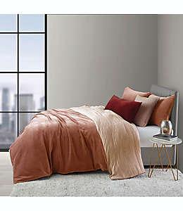 Set de funda para edredón individual O&O by Olivia & Oliver™ doble vista aterciopelado y lino en rosa, 2 piezas