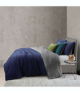 Set de funda para edredón individual O&O by Olivia & Oliver™ doble vista aterciopelado y lino en azul marino, 2 piezas