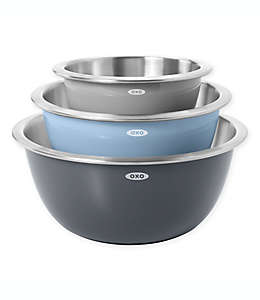 Tazones para mezclar de acero inoxidable OXO® color gris/azul, Set de 3