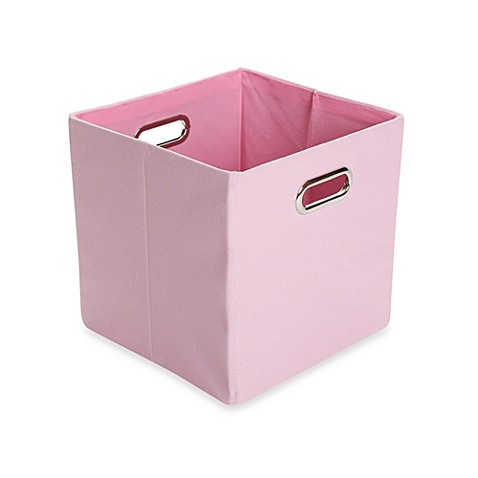 Giggledots rose canvas folding storage bin in solid pink for Pink bathroom bin