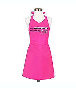 "Delantal de algodón con frase ""On Wednesday We Wear Pink"" Mean Girls color rosa"