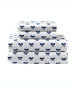 Set de sábanas individuales de algodón E & E Co. Felicity de 144 hilos color azul