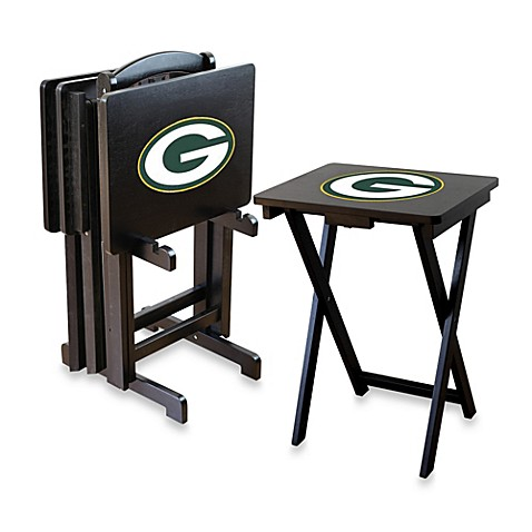nfl green bay packers tv tray with stand (set of 4) - bed bath