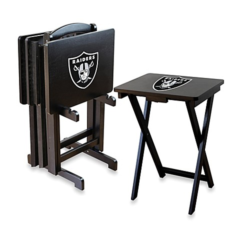 Nfl Oakland Raiders Tv Tray With Stand Set Of 4 Bed Bath Beyond