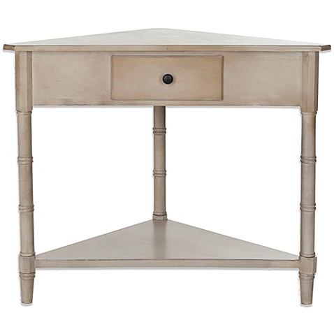 Safavieh gomez corner table bed bath beyond for Corner bed table