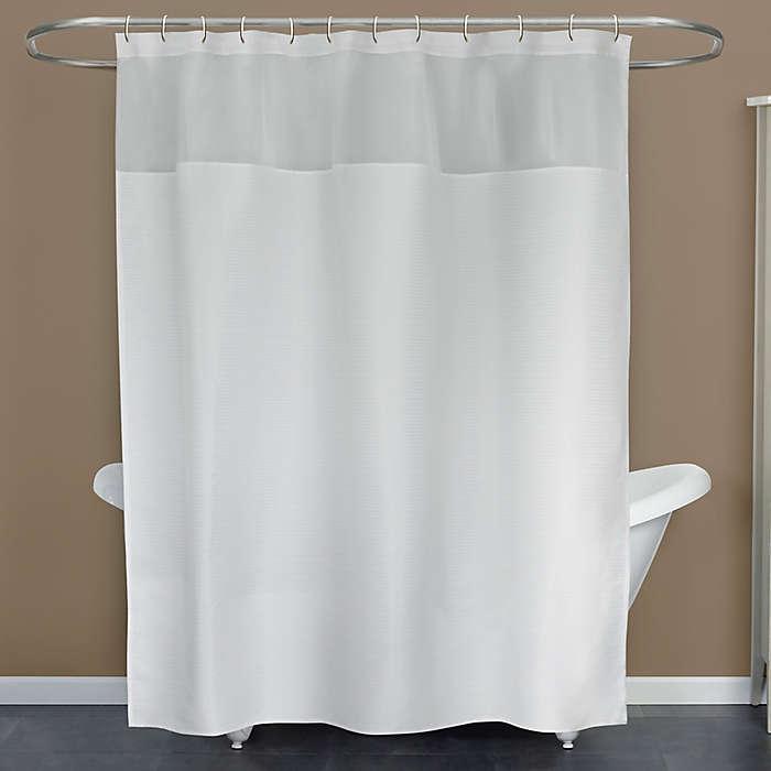 Cortina de baño de poliéster Kadin color blanco