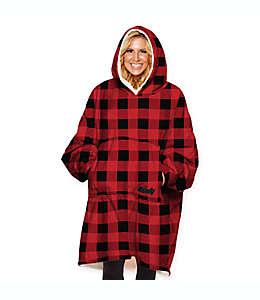 The Comfy® Frazada tipo sudadera unitalla a cuadros en rojo/negro