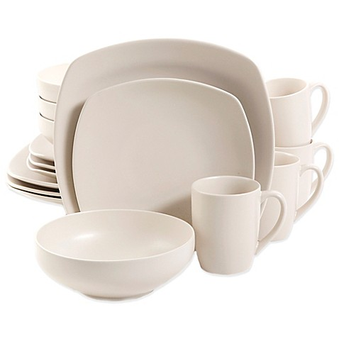 Gibson Home Square Paradiso 16-Piece Dinnerware Set in Linen - Bed ...