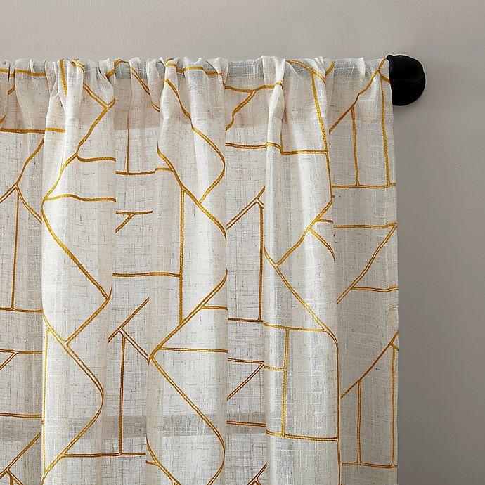 Archaeo Jigsaw Embroidery Linen Rod Pocket Semi Sheer Curtain Panel Bed Bath Beyond