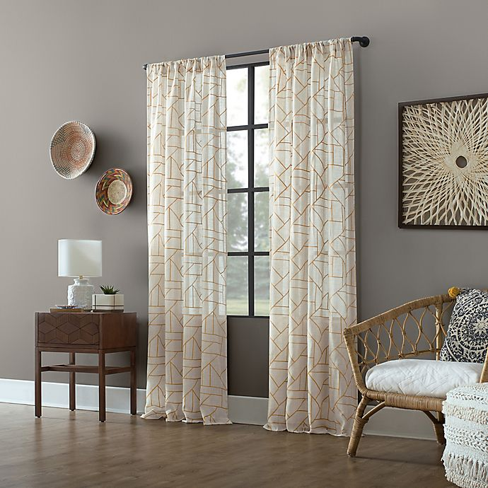 Archaeo Jigsaw Embroidery Linen Rod Pocket Semi Sheer Curtain Panel Buybuy Baby