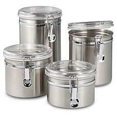 Oggi™ Airtight Stainless Steel Canisters With Acrylic Tops (Set Of 4)