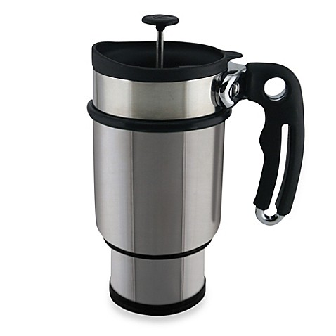 buy planetary design double shot 14 ounce french press travel mug in silver from bed bath beyond. Black Bedroom Furniture Sets. Home Design Ideas