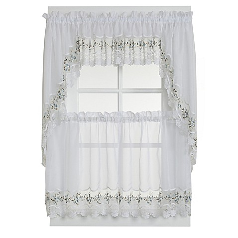 vintage sheer window curtain tier pairs and valance in. Black Bedroom Furniture Sets. Home Design Ideas