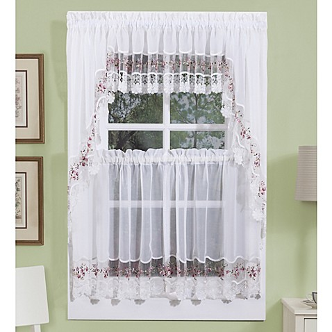 vintage curtains and valances in white/rose - bed bath & beyond
