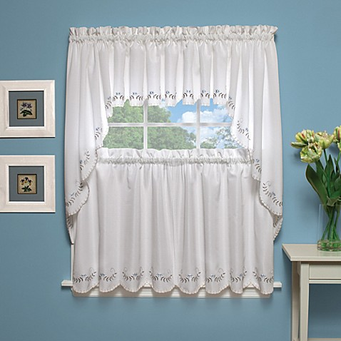 Forget-Me-Not Fan Window Curtains and Valances in White/Blue