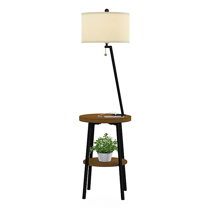 Lavish Home Mid Century Floor Lamp Table In Brown Black Bed Bath And Beyond Canada