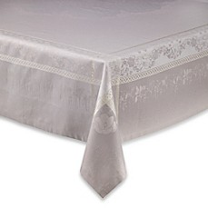 image of Garnier-Thiebaut Perce-Neige Damask Tablecloth and Napkins