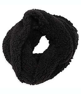 Bufanda circular de peluche para mujer en negro