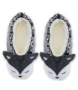 Pantuflas tipo calcetín Sequin Fox Capelli New York medianas/grandes