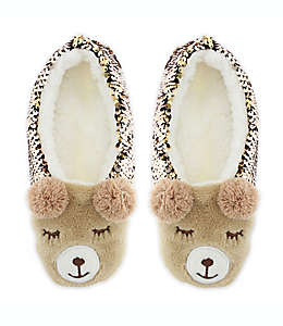 Pantuflas tipo calcetín Sequin Bear Capelli New York chicas/medianas
