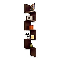 image of Walnut Grain Finish 5 Level ZigZag Corner Wall Mount Shelf