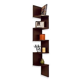 image of walnut grain finish 5 level zigzag corner wall mount shelf - Decorative Wall Shelves