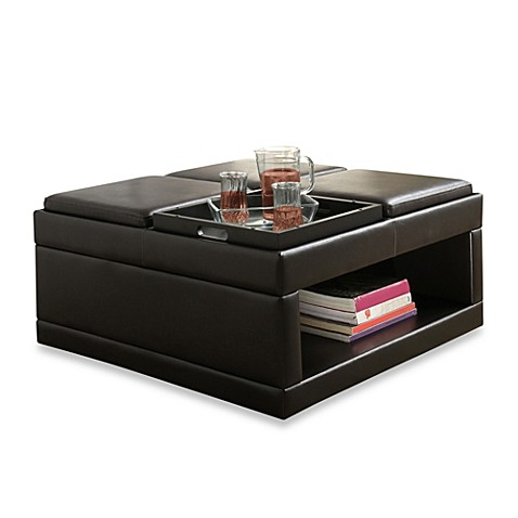 Verona Home Cocktail Ottoman Table With Flip Tray Bed
