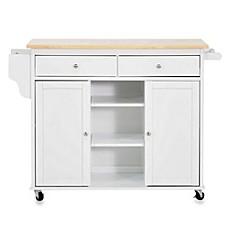image of baxton studio meryland modern kitchen rolling island cart in white