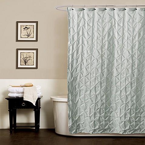 Noelle Pintuck Shower Curtains in Aqua - Bed Bath & Beyond