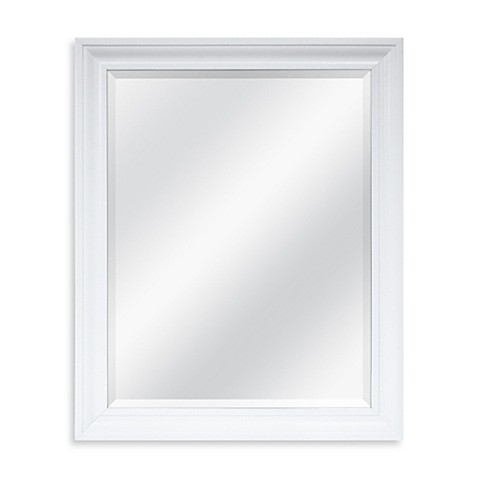 Decorative 26 5 inch x 32 5 inch large mirror in white for Fancy white mirror