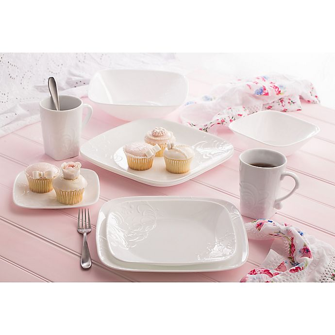Corelle Boutique Cherish Embossed Square 16 Piece Dinnerware Set Bed Bath Beyond
