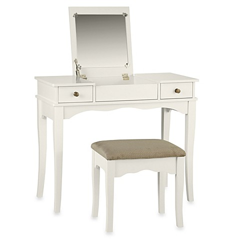 image of Linon Home Kendal Vanity Set in White. Vanity Sets   Benches   Bed Bath   Beyond