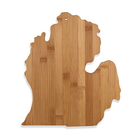 totally bamboo michigan state shaped cutting serving board bed bath beyond. Black Bedroom Furniture Sets. Home Design Ideas