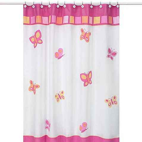 Sweet jojo designs pink and orange butterfly collection for Pink and orange bathroom ideas