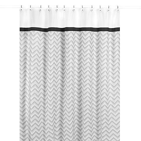 sweet jojo designs zig zag shower curtain in black and. Black Bedroom Furniture Sets. Home Design Ideas